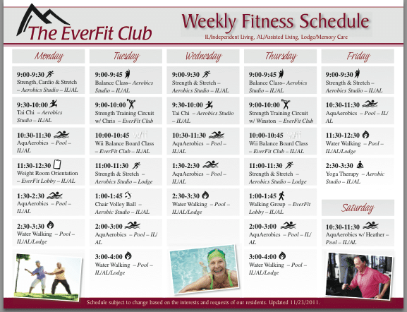 Weekly Workout Schedule Weekly fitness schedule: